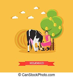 Milkmaid milking a cow, vector design - Milkmaid milking a...