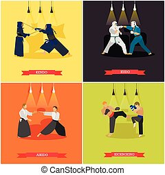 Vector set of martial arts, flat design - Vector set of...