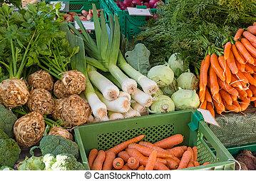 fresco, legumes, caixas, venda
