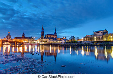 The famous skyline of Dresden at night