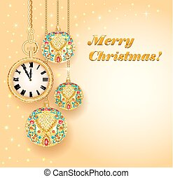 Illustration poster card festive Christmas with balls and gold clock