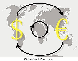 Currency exchange euro dollar on world map background