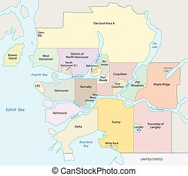 metro vancouver map - metro vancouver vector map