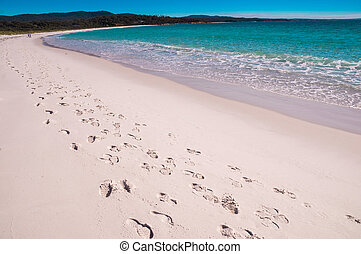 Footsteps at Bay of Fires beach, Tasmania - A track of...