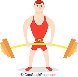Cartoon man barbell exercises: squat, deadlift, overhead...