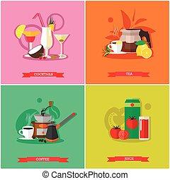 Vector set of popular drinks, flat design - Vector set of...