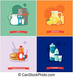 Vector set of soft drinks, flat design - Vector set of soft...