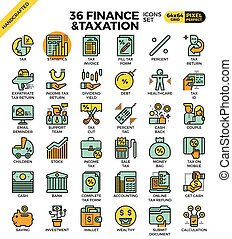 Finance and taxation, business concept, outline icons...