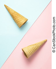 Emptiness. - Creative photo of two empty waffle cones on...