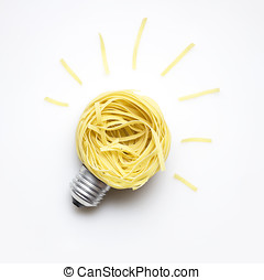 Food idea. - Creative concept photo of a bulb made of pasta...