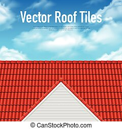 House Roof Tile Poster - House roof tile poster with red...