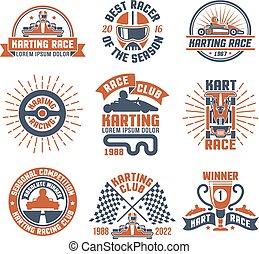 Karting Motor Race Logo Emblem Set - Red and blue color logo...