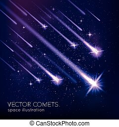 Meteor Shower Background - Meteor shower background with...