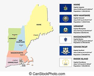 new england states map with flags - new england states...