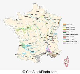 wine-growing areas in France, map