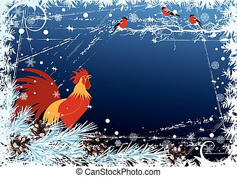 New Year background with cock and bullfinch - vector New...