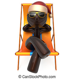 Xmas vacation man smiley character chilling beach deck chair...