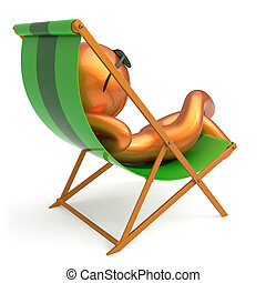 Man resting beach deck chair sunglasses smiling character -...