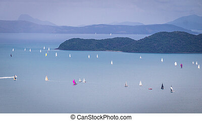 View on sailing regatta at Whitsunday Islands from a...