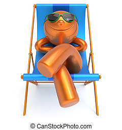 Beach deck chair man smiley resting summer vacation person -...