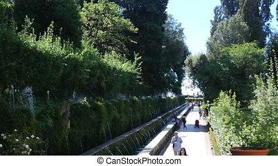 Villa d'Este Tivoli, Italy - SEPTEMBER 6, 2016. Alley fountains in the center of the villa