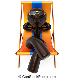 Man smiley rest beach deck chair vacation relaxing tourist