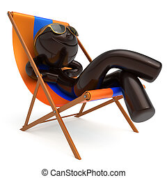 Smiley man relax beach deck chair sunglasses summer person