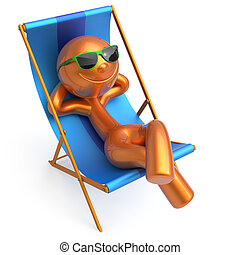 Relax beach deck chair man smile cartoon character chilling...