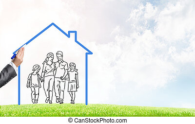Happy family in house - House figure as real estate symbol...