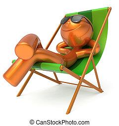 Man rest beach deck chair sunglasses smiley summer tourist