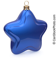 Christmas ball star shaped blue hanging decoration New Year