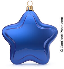 Christmas ball star shaped blue hanging decoration bauble