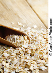 Rolled oats - Rolled oat groats on the kitchen table