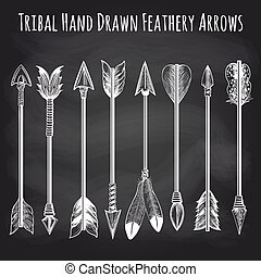 Feathery arrows collection on chalkboard