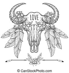 Buffalo skull with flowers and feathers - Hand drawn buffalo...
