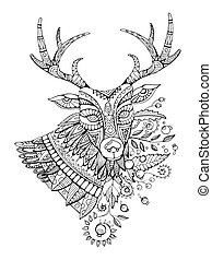 Deer coloring book for adults vector illustration....