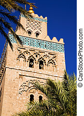 palm maroc africa minaret religion and the blue sky - in...