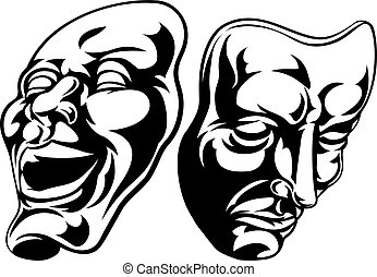 Theatre Masks - Illustration of theatre comedy and tragedy...