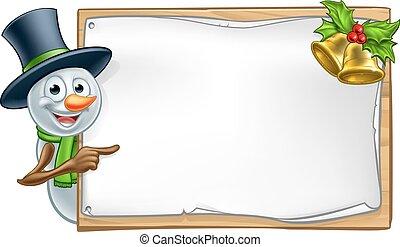 Christmas Snowman Cartoon Sign