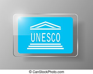 UNESCO Flag Glossy Button. Vector illustration. Eps 10