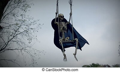 Funny Skeleton On Swing - Skeleton On Swing - Funny...
