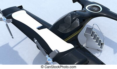 Autonomous flying drone taxi concept - Black autonomous...