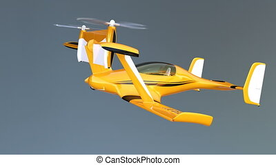 Yellow autonomous drone taxi flying in the sky. 3D rendering...