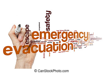 Emergency evacuation word cloud