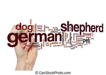 German shepherd word cloud concept