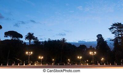 Dawn at Pincio. Garden Villa Borghese, Rome, Italy....