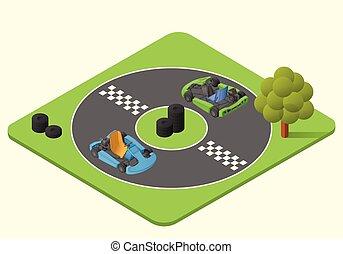 kart sport car vector isometric illustration. karting race...
