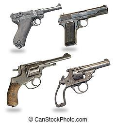 blanco, pistolas, Conjunto, aislado, Plano de fondo