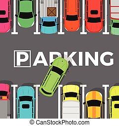 Parking Conceptual Web Banner. Car Leaves Place