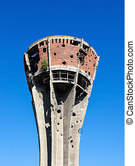 Damaged water tower in Vukovar, Croatia - Water Tower in...